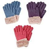 3 Pack Kids Touchscreen Solid Knit Gloves w/Faux Fur Cuff, Purple/Hot Pink/Blue