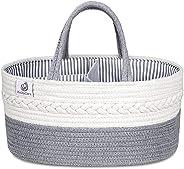 KiddyCare Baby Diaper Caddy Organizer - Stylish Rope Nursery Storage Bin 100% Cotton Canvas Portable Diaper St