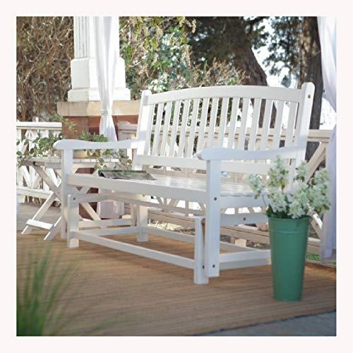 4' Acacia Bench - HEATAPPLY 4-Ft Outdoor Patio Garden Glider Bench Loveseat in White Wood
