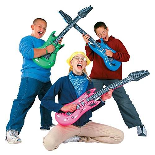 Koogel Inflatable Rock Star Toy Set, 6pcs 36\'\' Electric Guitar,4pcs 31\'\' Microphones,1pcs 17\'\' Inflatable Boom Box Radio for Party Decorations.