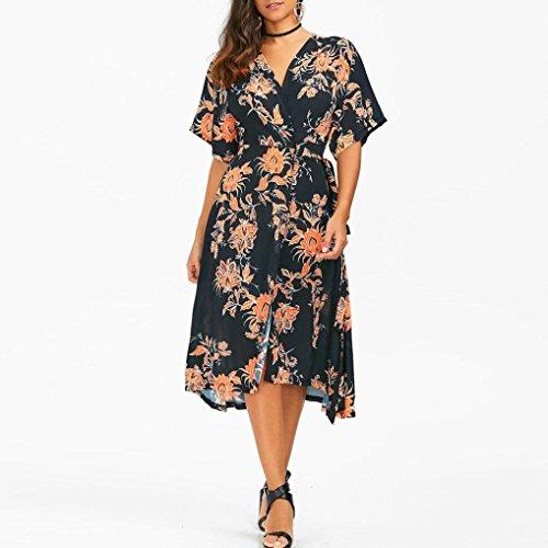 - Gotd Women Chiffon Dress V Neck Short Sleeve Cardigan Casual Dress (XL, Black)