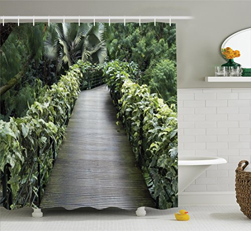 Fence Tropical Decor (House Decor Shower Curtain Set By Ambesonne, Scenic Wooden Pathway In Singapore Botanical Garden Fence Rainforest Tropical , Bathroom Accessories, 84 Inches Extralong)
