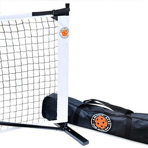 Amazin Aces Portable Pickleball Net | Premium Net Set Includes Easy-Snap Metal Frame, Tension Strap Net, Carry Bag for Easy Carry | Regulation Size Pickle Ball Net