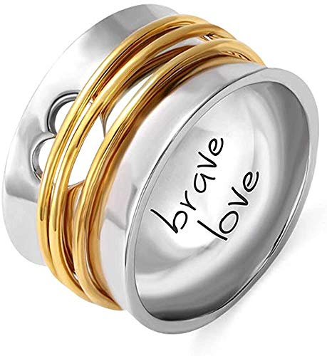 Personalized Engraved Spinner Ring with Heart Hollow Love Ring