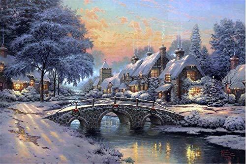 Queenie 1000 Piece Winter Water Bridge Oil Painting Landscape Wooden Jigsaw Puzzle Toys Adults Puzzles Romantic