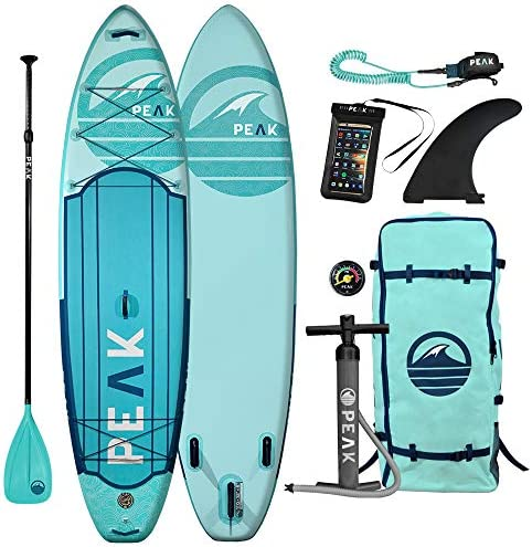 Peak Expedition Inflatable Stand Up Paddle Board 10 6 or 11 Long x 32 Wide x 6 Thick Durable and Lightweight Touring SUP Stable Wide Stance Includes Paddle, Leash, Bag, and Center Fin