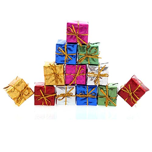 Tinksky 24pcs Christmas Tree Small Gift Boxes Hanging Decorations Ornaments (Random Color) (Gift Ornaments Box)