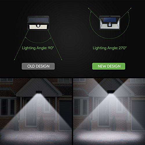 LE 44 LED Solar Powered Lights Outdoor with Motion Sensor, 3 Optional Lighting Modes, 270 Degree Angle, Daylight White 6000K, 4W 550LM, for Garden, Fence, Driveway, Front Door and More, Pack of 4 by Lighting EVER (Image #2)