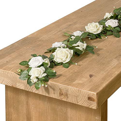 Ling's moment Handcrafted Rose Flower Runner 5FT Artificial Ivory Rose Floral Arrangements for Wedding Table Flowers Arch Decorations -