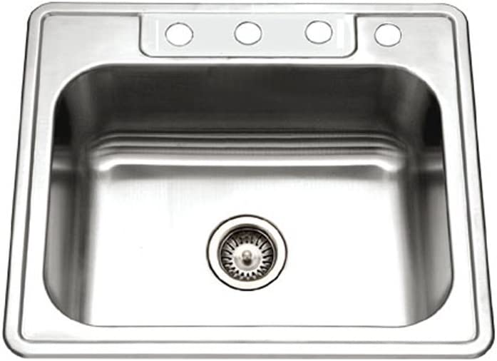 Houzer 2522-9BS4-1 Glowtone Series Topmount Stainless Steel 4-hole Single Bowl Kitchen Sink, 9-Inch Deep