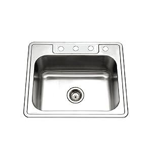 Houzer 2522-9BS4-1 Glowtone Series Topmount Stainless Steel 4-hole Single Bowl Kitchen Sink, 9-Inch Deep