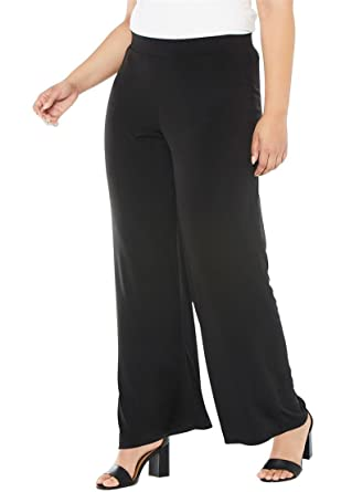 Jessica London Women\'s Plus Size Stretch Jersey Wide-Leg Pants - Black,  14/16