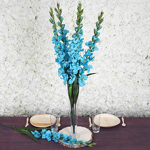 Tableclothsfactory 6 pcs Gladiolus Single Stems for Wedding Flowers Arrangements - Turquoise ()