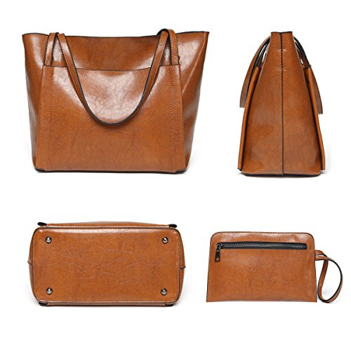 Capacity Shoulder Bag Handbags Body Bag Bag Fashion set Top Cross Bags Women's Bags UGOOO Casual Handle Ladies Vintage Marrón Large IRqBT
