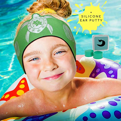Will & Fox Swimming Ear Band for Kids Toddlers & Babies with Ear Tubes ~Free Putty Earplugs ~The #1 Headband ENT Physicians Recommend~ Holding Plugs in Place and Ears Dry (Medium 18 Months -10 Years)