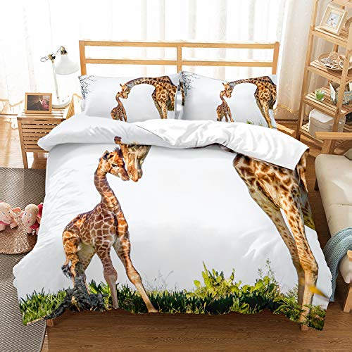 PATATINO MIO Giraffe Duvet Cover Set Queen for Children,3D Printed Giraffe Mother and Baby in Green Grassfield Gray Bedding Set for Kids,Boys,Girls and Teens,3 Piece with 2 Pillow Sham (3 Piece Pillow)