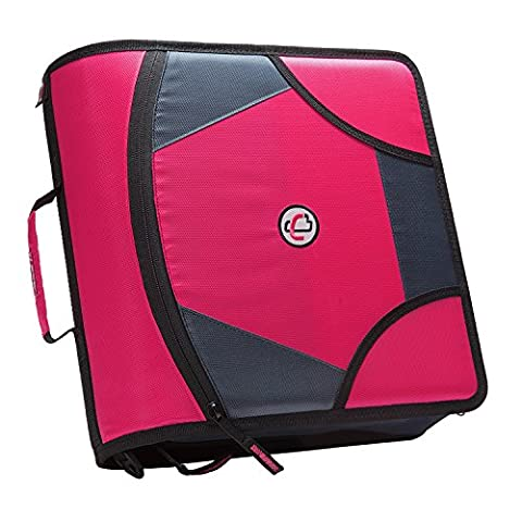 Case-it King Sized Zip Tab 4-Inch D-Ring Zipper Binder with 5-Tab File Folder, Magenta, D-186-MAG - Mag Trap