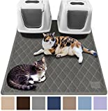 Gorilla Grip Original Premium Durable Multiple Cat Litter Mat (47x35), XL Jumbo, No Phthalate, Water Resistant, Traps Litter from Box and Cats, Scatter Control, Soft on Kitty Paws (Gray)