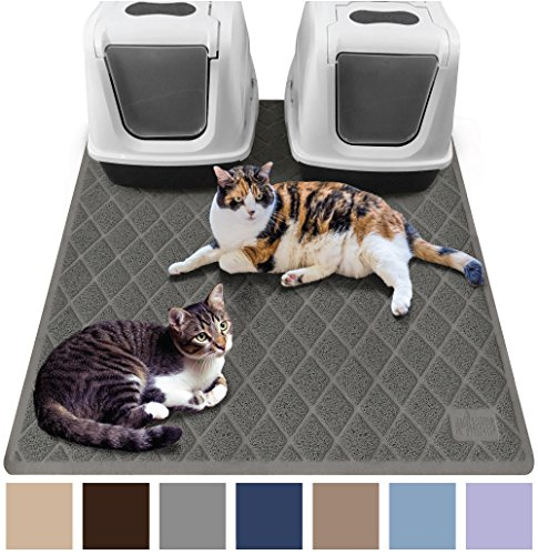 Gorilla Grip Original Premium Durable Multiple Cat Litter Mat (47x35), XL Jumbo, No Phthalate, Water Resistant, Traps Litter from Box and Cats, Scatter Control, Mats Soft on Kitty Paws (Gray)