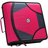 Case-it King Sized Zip Tab 4-Inch D-Ring Zipper Binder with 5-Tab File Folder, Magenta, D-186-MAG