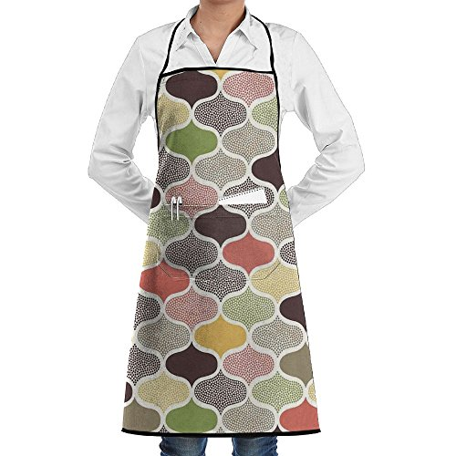 CNWXGGGL Apron For Kitchen Cooking-Seamless Oriental Geometric Morrocan Doodle Pattern With Dots And Blank Colors Art