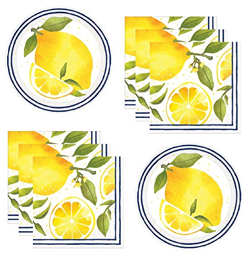 (Lemon Party Supplies Themed Paper Plates And Napkins Serves 24 Guests)