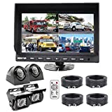 DOUXURY Backup Camera System, 4 Split Screen 9'' Quad View Display HD Monitor with DVR Recording Function, Waterproof Night Vision Cameras x 4 for Truck Trailer Heavy Box Truck RV Camper Bus