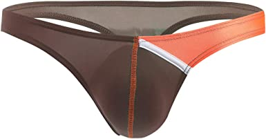 Men/'s Breathable Ice Silk Bikini Briefs Low Rise T-back Thong Underwear Panties