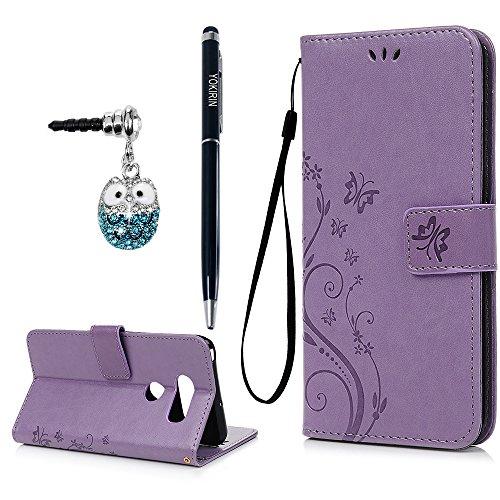 LG V30 Case, LG V30 Plus Case, YOKIRIN Light Purple PU Leather Embossed Floral Butterfly Wallet Purse Credit Card Holders Magnetic Flip Folio TPU Soft Bumper Ultra Slim Protective Cover for LG V30