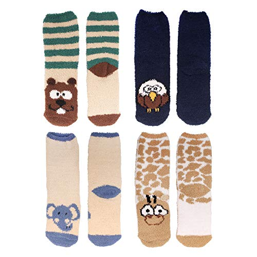 Beaver Fuzzy (Women's Super Soft Warm Microfiber Fuzzy Cozy Animal Crew Socks, Asst 4a, 4 Pairs)