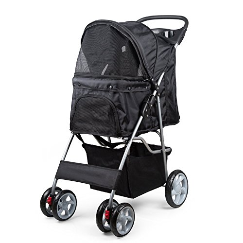 PetsN'all Four Wheel Dog Strollers for Small Dogs, Cats and More, Travel Foldable Carrier Strolling Cart - Black