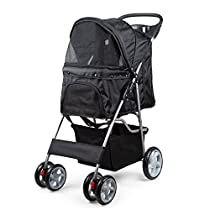 PetsNall Foldable Dog Stroller Durable Lightweighted Stainless Steel Frame 4 Wheels with Safty Brakes 82 x 37.31 x 97 cm - Black