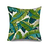 Popeven Canvas Leaves Decorative Pillow Cover Green Square Swaying Palm Tree Accent Pillow Case for Couch Home D¨¦cor Zippered Cushion Cover Standard Size Pillowcase 18 x 18""