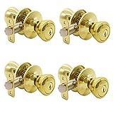 Keyed Entry Door Lock Tulip Door Knob Handle in Polished Brass, 4 Pack,Keyed Alike