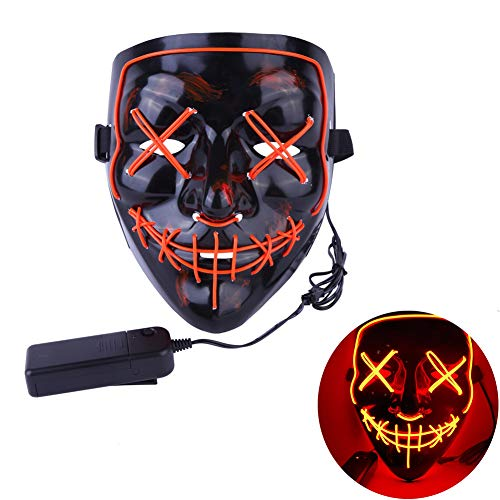 (Balai Frightening Wire Halloween Cosplay LED Light up Mask Glowing Purge Mask for Festival)