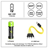 AA Batteries 1.5V/1700mAh, USB Rechargeable Lithium Battery with 4-in-1 Micro USB Charging Cable, 1.5h Fast-Charge, Not Need Extra Batteries Charger, 3000 Cycles Recyclable Recharge Battery-4 Pack
