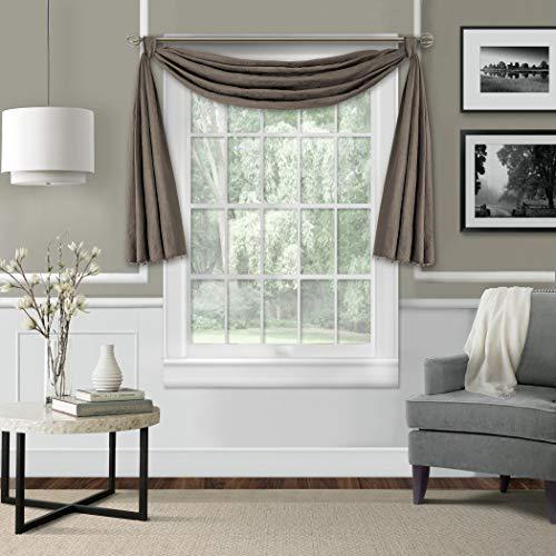 Elrene Home Fashions Leila Matelasse Single Blackout Window Scarf Valance, 52
