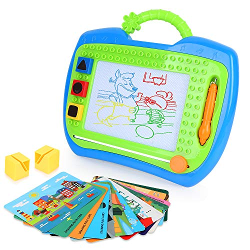 LBLA Magnetic Drawing Board Colors Writing Painting Sketching Doodle Board with 3 Stamps 12 Cards Creative Toys for Kids Toddlers Boys Girls (Best Creative Toys For Kids)