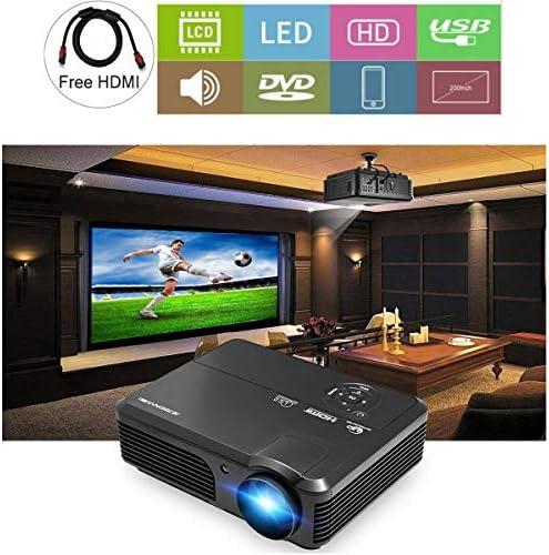 CAIWEI Proyector de video HD 1080P 4200 Lumen Pantalla LCD LED Proyectores de juegos Cine en casa 1280x800 Pantalla TFT HDMI USB 200
