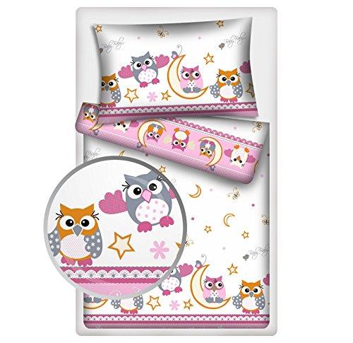 Kinderbettwäsche 2-tlg. 100% Baumwolle 40x60 + 100x135 cm mit Reißverschluss (Eule rosa)