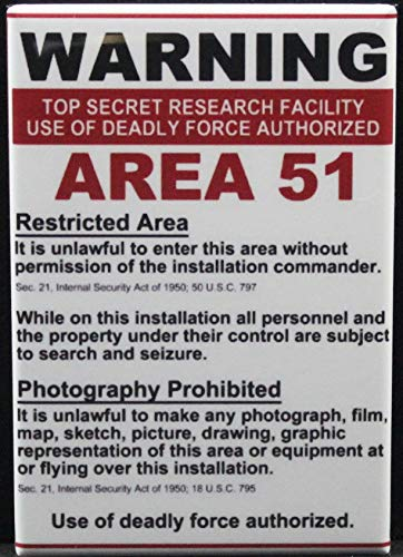 Area 51 Warning Sign Refrigerator Magnet.