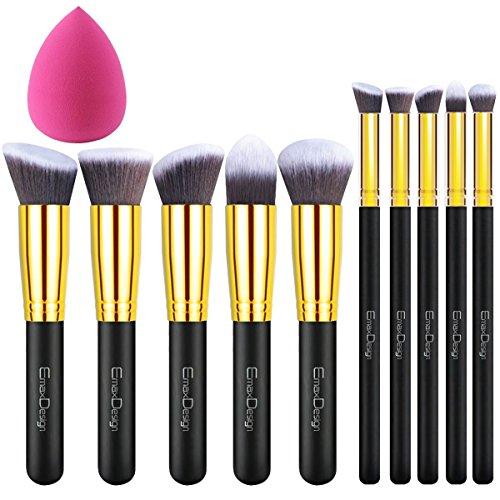 - EmaxDesign 10+1 Pieces Makeup Brush Set, 10 Pieces Professional Foundation Blending Blush Eye Face Liquid Powder Cream Cosmetics Brushes & 1 Piece Rose Red Beauty Sponge Blender