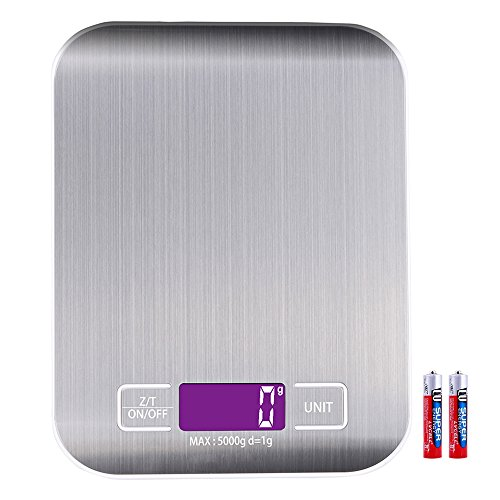 Billpow Digital Kitchen Scales, Electronic Cooking Food Scale with High Precision up to 1g (5kg maximum weight), LCD Display, Tare Function, 2 Batteries (included) [Energy Class A+]
