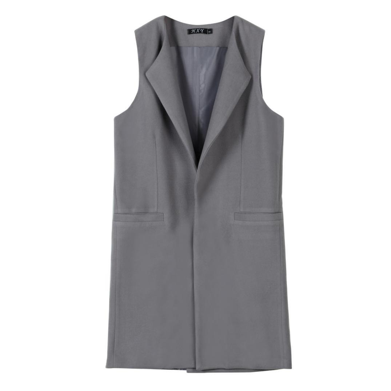 Minisoya Women Vest Jacket Sleeveless Waistcoat Gilet Lapel Blazer Coat Parka Outwear Casual Long Cardigan (Gray, L)