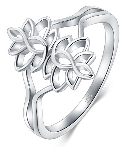BORUO 925 Sterling Silver Ring, Lotus Flower Yoga High Polish Plain Dome Tarnish Resistant Comfort Fit Wedding Band Ring Size 8