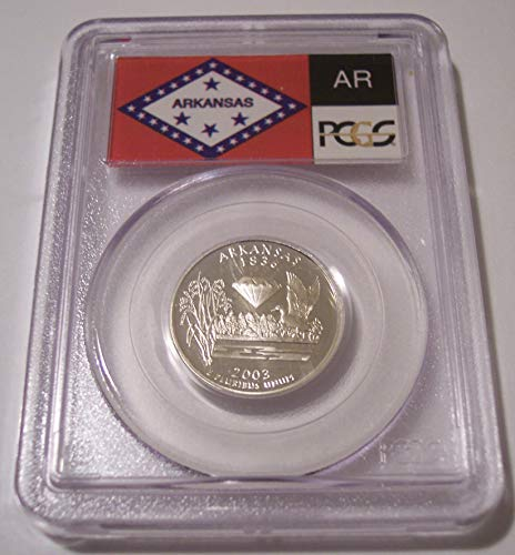 - 2003 S Arkansas State Silver Proof Quarter PR69 DCAM PCGS Flag Label