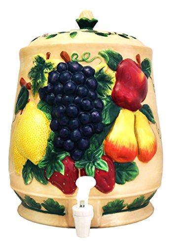3-D MIxed Fruit Ceramic Beverage Dispenser, Water Jar, 87035