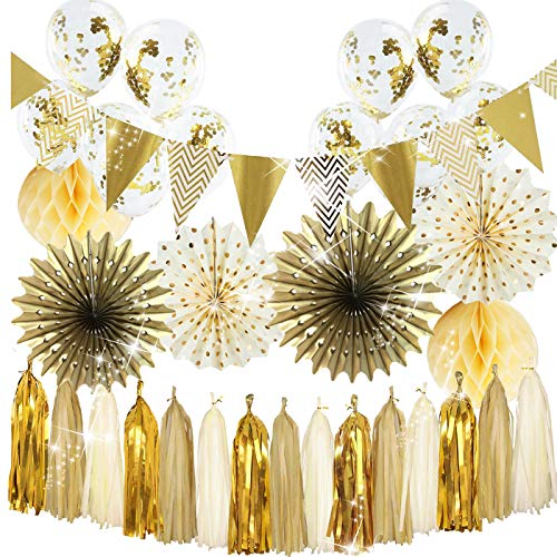 (2019 Graduation Golden Party Decorations Polka Dot Paper Fans Gold Confetti Ballons Triangle Banner for Gold Wedding/Bridal Shower Decorations/30th 40th 50th Birthday Party/Baby Shower)
