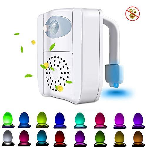 SEYEON Toilet Lights Waterproof Led Toilet Night Lights Motion Sensor Light for Toilet with Aromatherapy, 16 Colors UV Toilet Bowl Light for Kids,Bathroom,Washroom,Bedroom (1 Pack)