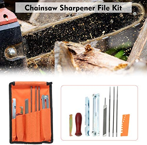 5//32 KKmoon Chainsaw Sharpener File Kit, Chainsaw Chain Sharpener Chain Parts Set and Tool Pouch for Sharpening /& Filing All Chainsaws Blades Depth Gauge Wood Handle 3//16 and 7//32 Inch Files